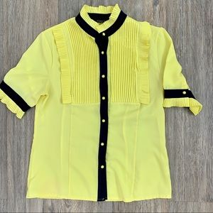 DECO LUX Yellow Navy Blue Button Up M